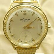 14k Gold Lecoultre Bumper Automatic Swiss Mens Watch Coin Edge
