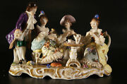Antique Dresden Volkstedt Porcelain Figurine Group Tea Time Three Lady One Man