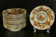 Set Of 12 Antique Porcelain Royal Vienna Love Story Small Soup Bowl Plates.