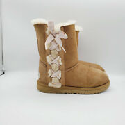 Ugg Australia Girls Brown Lace Up Suede Faux Fur Mid Calf Snow Winter Boots Sz 4