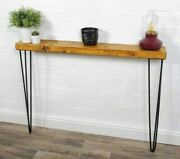 Console Table Slimline - Black Hair Pin Legs   Reclaimed Timber   Wood Furniture