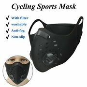 Sale Reusable Face Mask Active Carbon Filter Dual Breath Valves Cycling Lot H 11