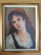 Antique Hungarian Oil Painting Girl Young Woman Portrait Vintage Signed Pataky