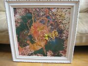 Abstract Expressionist Oil Painting Signed Len Aaron Beverly Hills La Ca Listed