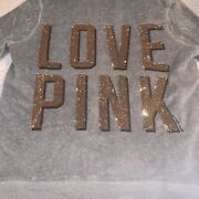 Vintage Vs Pink Bling Fur Lined Zip Up Hoodie Sweater Grey Gold Size M