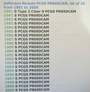 1981 To 2000 Jefferson Nickels Pcgs All Graded Pr69dcam Lot 0f 20 With Pcgs Box