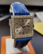 Vintage Longines Diamond And 14kt White Gold Case