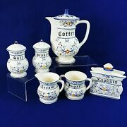 Serving Set Heritage By Royal Sealy Blue Onion Motif Vintage Numbered
