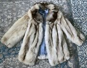 Real Fox Fur Luxury Vintage Womenand039s Coat - Made In Poland - White - Size L