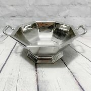 Vtg Jean Couzon American Airlines Footed Serving Dish Handles Stainless Tray