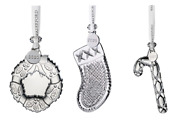 Waterford Crystal Holiday S/3 2020 Ornaments Candy Cane Stocking Wreath Nib