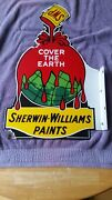 Original Sherwin Williams Paint Porcelain Double-sided Flange Sign