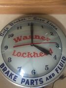 Vintage Wagner Lockheed Brake Parts Double Bubble Wall Clock Lighted Works 15andrdquo