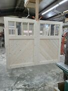 8 X 7 Spruce Angle Board Design Swinging Carriage House Door Pair