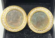 Vintage 14k Yellow Gold Natural Diamond Halo Antique Coin Omega Backs Earrings