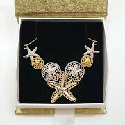 14k Gold And Rhodium-plated Diamond-cut Starfish And Sand Dollar Necklace 18in