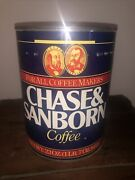 Rare Vintage Chase And Sanborn Coffee Tin For All Cofee Makers 23 Oz Or 652 G