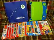 Leapfrog Leap Pad Learning System 14 Books And Cartridges Frog Binder Phonics