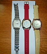 Lot Of 3 Euc Gossip Watches Stainless Steel, Cream Leather And Red Silicone Nu Bat