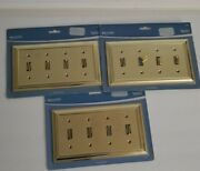 Lot Of 3 Brainerd Plated Brass Quad Toggle Switch Plate Cover 64221 New---- 273