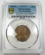 2000-d Pcgs Ms 62 Mint Error Obv Clad Layer Missing 25c Us Coin Item 26423a