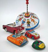 Vintage Tin Toy Lot Of 5 - Cars, Spinning Top For Parts, Ladybug