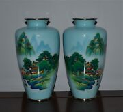 Pair Old Or Antique Japanese Wireless Cloisonne Vases Silver Rims Showa