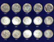 1986 To 2000 15 Piece Silver Eagles Coin Set With A Certificate
