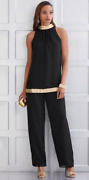 Size M Ashro Black Gold Sequin Formal Church Dinner Party Marylynn Pant Suit Set