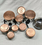 Lot Of 17 Vintage Revere Ware 1801 Copper Clad Bottom Cookware Clinton And Rome