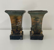 Antique Toleware Urn Planters Ormolu Feet Pair 19th Century French Trees Angels