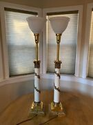 Pair Of Vintage Working Stiffel Hollywood Regency Table Lamps With Diffusers