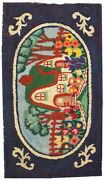 Hand Made Antique American Hooked Rug 2.5and039 X 4.3and039 76cm X 131cm 1920 - 1c24