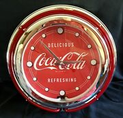 Vintage Style Coca-cola Double Neon Lighted Advertising Clock