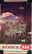 Old Poster Africa By Sas - Otto Nielsen - Advertising Flights Airlines 1950andrsquos