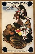 Old Poster South Africa By Sas-otto Nielsen-advertising Flights Airlines 1950andrsquos