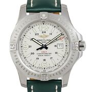 Breitling Colt Stainless Steel White Dial Green Strap Watch