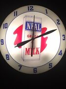 Vintage Rare Neal Grade A Milk Dairy Double Bubble Wall Clock Lighted Works 15andrdquo