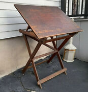 Large Antique Keuffel And Esser Drafting Table
