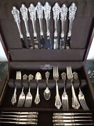 Wallace Grande Baroque 40 Pcs For 8 Sterling Silver Flatware Service Set W Chest