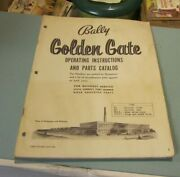 Vintage 1960's Bally Golden Gate Pinball Machine Instructions And Parts Catalog