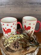 Set Of Two Stackable Large Crazed Cream And Red Rooster Coffee Tea Mugs 5