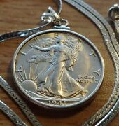 Rare 1941 Denver Mint Walking Liberty Pedant On An Italian Silver Cable Chain.