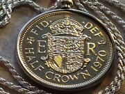 Rare 1970 English Half Crown Pendant On A 28 Sterling Silver Italian Rope Chain