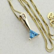 14k Yellow Gold Natural Swiss Blue Topaz And Diamond Necklace 16 Inch Chain