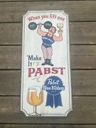 Pabst Blue Ribbon Beer Wooden Sign - Weightlifter - Pbr Wood - Free Shipping