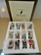 Williams Sonoma 12 Days Of Christmas 12 Porcelain Place Card Holders -rare- Mint