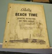 Vintage 1960's Bally Beach Time Pinball Machine Instructions And Parts Catalog
