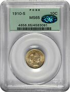 1910-s Barber Dime Ms65 Pcgs Cac. Green Holder