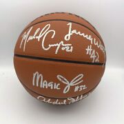 Showtime Lakers Team Signed Basketball Jabbar Magic Worthy Psa Dna Authentic